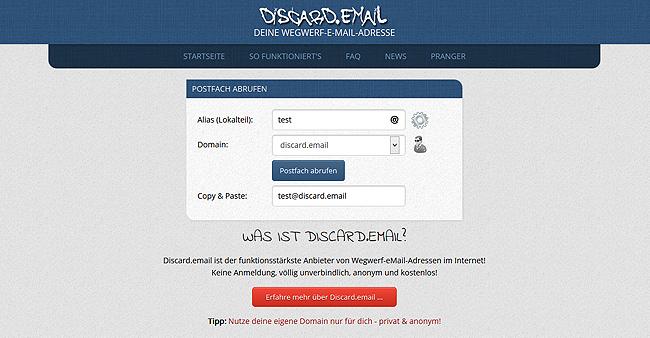 Discard.email - die Adresse f�r Wegwerf Email Adressen sollte man sich merken!